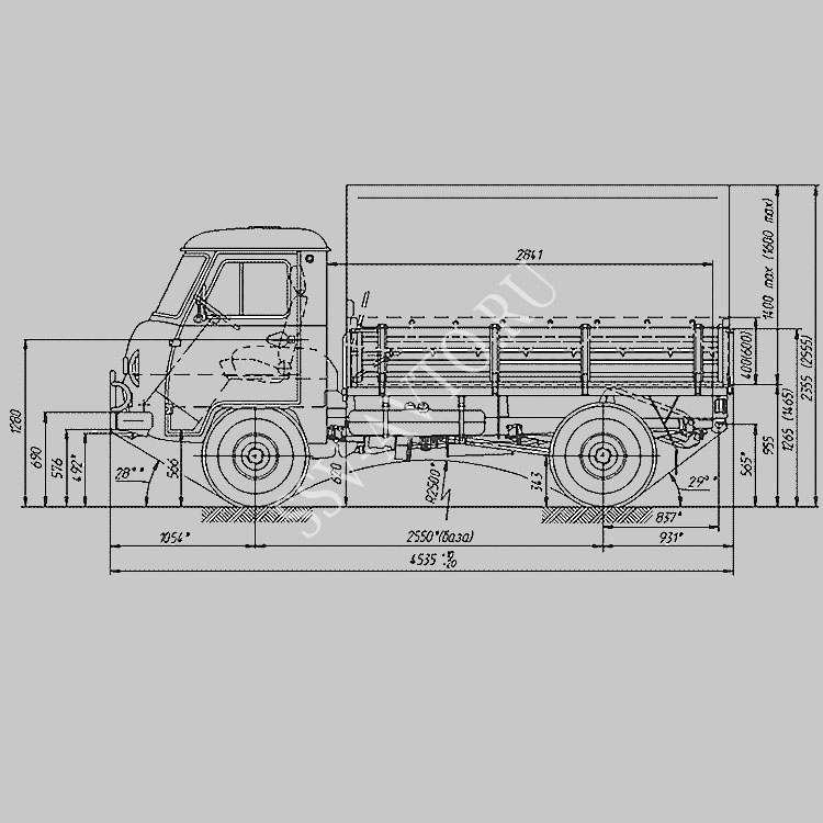 размеры и схема УАЗ-3303